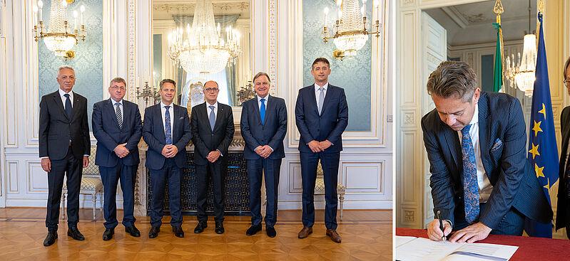 Skupinska fotografija predsednikov vrhovnih revizijskih institucij in utrinek s podpisa izjave