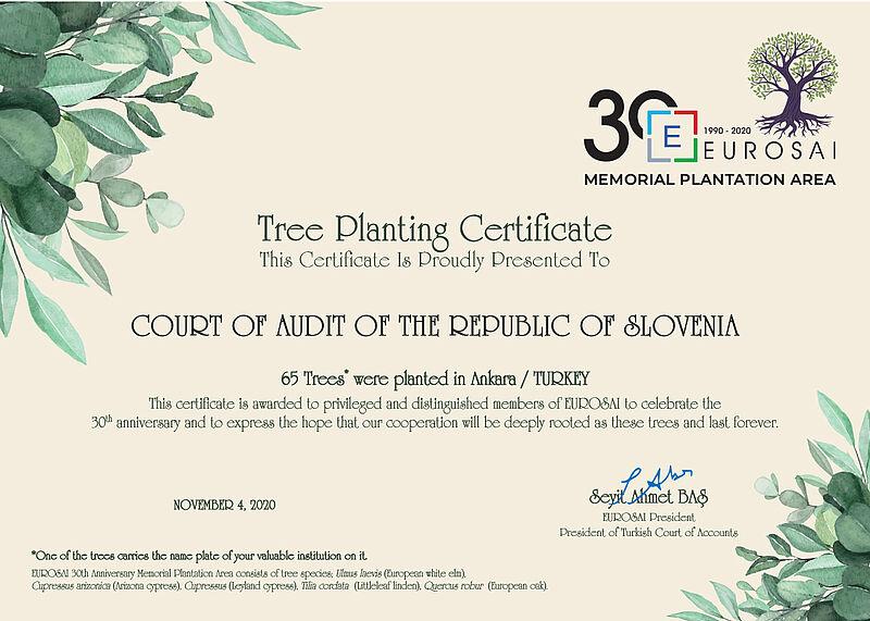 Potrdilo o zasaditvi dreves