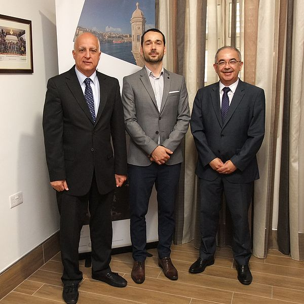 Auditor General of NAO Malta, Charles Deguara, Auditor of the SAI Slovenia, Luka Ramovš, and Deputy Auditor General of NAO Malta, Noel Camilleri